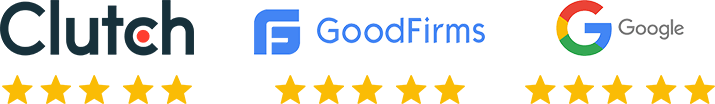 5 Star Rating on Clutch, Good Firms, Google