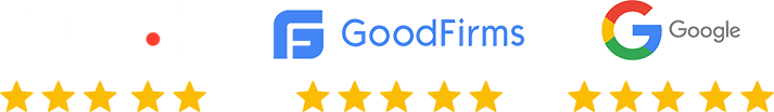 Five Star Rating by Clutch, GoodFirms, Google